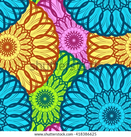 Vector Seamless Colour Floral Mandala Pattern. Seamless pattern for your designs, invitation card, yoga, meditation, astrology and other wrapped projects. Pattern in swatches panel. - stock vector