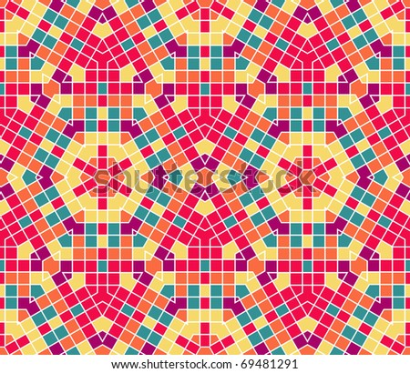 Vector seamless colourful ornamental background made of mosaic - stock vector
