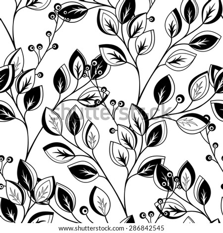 Vector Seamless Contour Floral Pattern. Hand Drawn Monochrome Floral Texture, Decorative Leaves, Coloring Book - stock vector