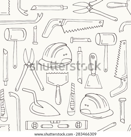 Vector seamless contour pattern with building tools - stock vector