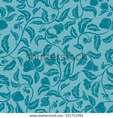 vector seamless cute beautiful gentle artistic stylized art decor flower pattern. spring summer time, nature in bloom, leaves, romantic, wallpaper, feminine floral background. - stock vector