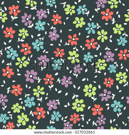 vector seamless cute funny little childish minimalistic ditsy flower pattern. spring summer time, holidays, garden nature, gentle romantic floral background. - stock vector