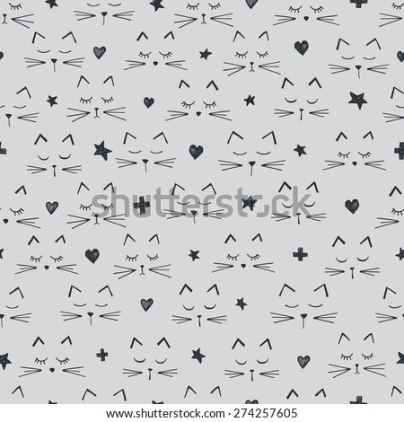 vector seamless cute graphical cats print  - stock vector