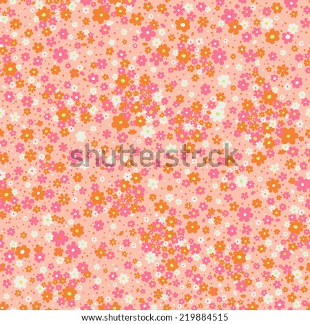 vector seamless cute little ditsy flower and dots print - stock vector