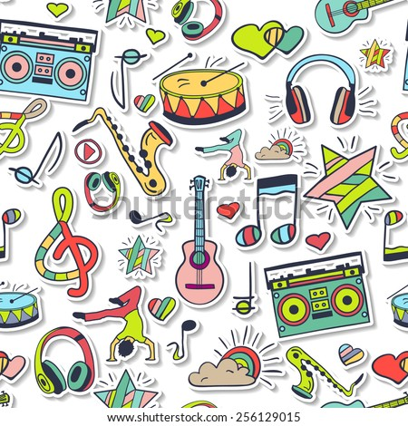 Vector seamless 3d pattern, cute background. Hand draw, doodles. Notes, love, musical instruments, music, life. Illustration can be used for wrappers, websites, banners, fabrics, surface texture. - stock vector