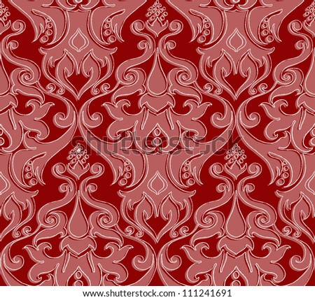 Vector seamless damask pattern in rich red shades