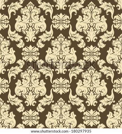 Vector. Seamless damask pattern, yellow and brown colors - stock vector