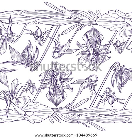 Vector seamless decorative border of the wild pansy - stock vector