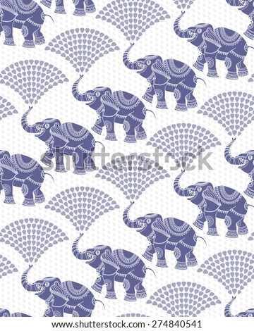 Vector seamless decorative pattern from dark blue elephant silhouette with ethnic ornaments and fountain from water drops. White background from dense light grey rain drops - stock vector