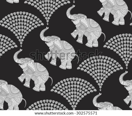 Vector seamless decorative pattern from silver grey elephant silhouette with ethnic ornaments and fountain from ornate water drops on a dark black background - stock vector