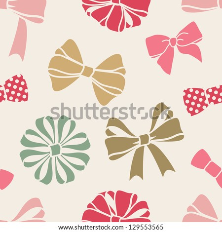 vector seamless decorative pattern with bows - stock vector