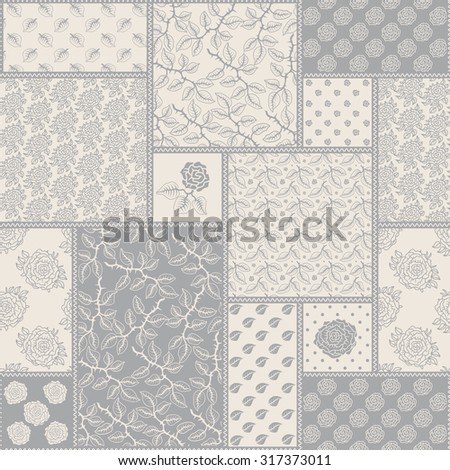 Vector  seamless delicate patchwork pattern from grey and light beige floral lacy ornaments from stylized rose flowers and leaves in Provence style. Textile design, batik paint, pillow embroidery - stock vector