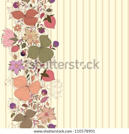 Vector seamless doodle border of flowers and berries - stock vector