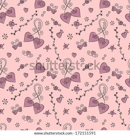 Vector seamless doodle valentine pattern with hearts, butterflies and flowers.
