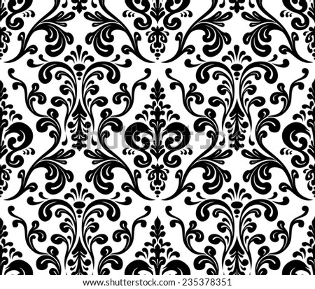 Vector. Seamless elegant damask pattern. Black and white - stock vector