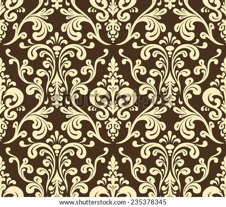 Vector. Seamless elegant damask pattern. Golden colors - stock vector