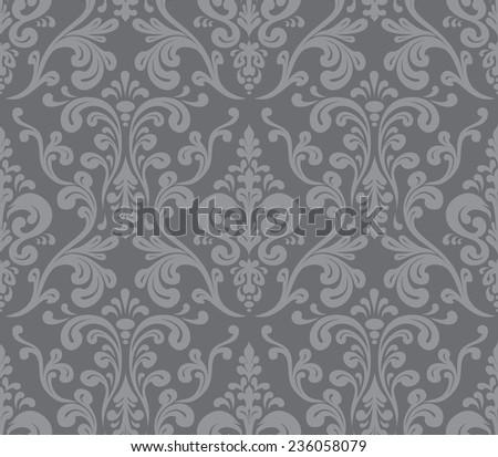 Vector. Seamless elegant damask pattern. Grey - stock vector