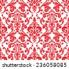 Vector. Seamless elegant damask pattern. Red and white - stock vector