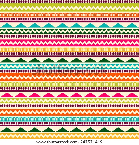 Vector seamless ethnic pattern. Abstract background. Geometric borders. Traditional colorful ornament. - stock vector