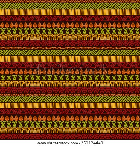 Vector Seamless Ethnic Pattern, seamless pattern in swatch menu, all brushes included, you can create your own pattern - stock vector