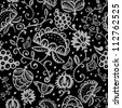 Vector seamless ethnic pattern with flowers in black and white - stock vector