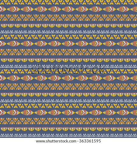 Vector seamless ethnic pattern with graphic shapes and tribal elements. texture in boho style on a dark background.