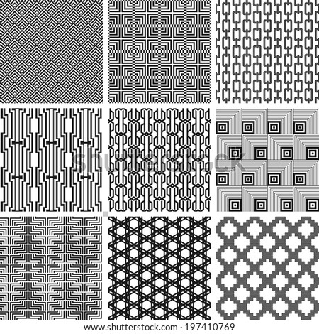 Vector seamless fashion black and white patterns set - stock vector
