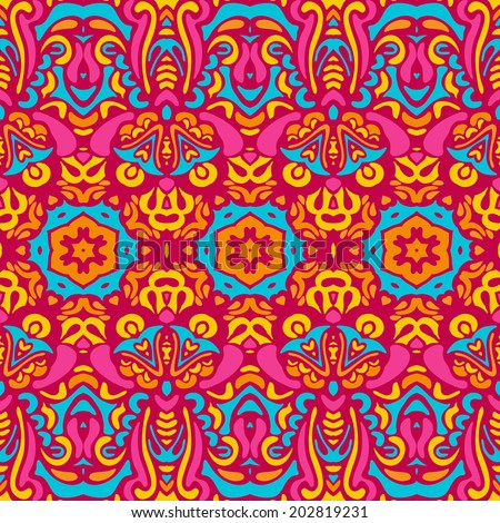Vector Seamless Festive Colorful Tribal Ethnic Abstract Background - stock vector