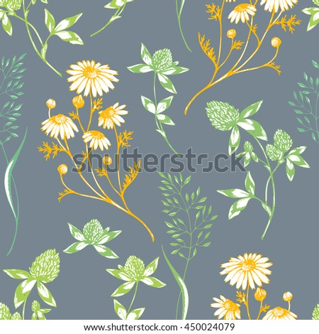 Vector seamless floral background with wild herbs and flowers on grey. Hand drawn botanical herbal illustration in sketch style. For print, fabric, wallpaper, wrapping and other seamless design. - stock vector