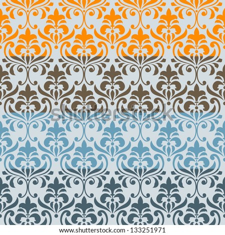 Vector seamless floral  borders, differect colors, seamless patterns in swatch menu