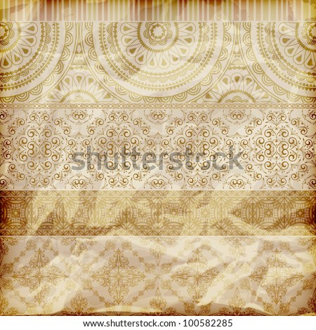 vector seamless floral borders on  crumpled golden foil  paper texture - stock vector