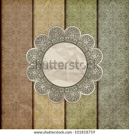 vector seamless floral borders on  crumpled golden foil  paper texture with lacy napkin, gradient mesh, eps 10 - stock vector