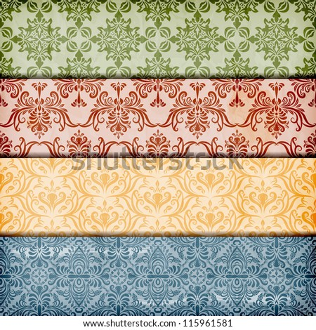 vector seamless floral borders on  crumpled paper texture, seamless patterns included in swatch menu , fully editable eps 10 file with transparency effects and mesh - stock vector