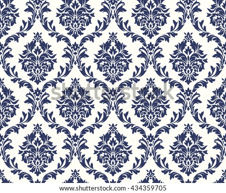 Vector seamless floral damask pattern. Rich ornament, old Damascus style. Royal victorian seamless pattern for wallpapers, textile, wrapping, wedding invitation. Damask woman pattern. Damask pattern - stock vector