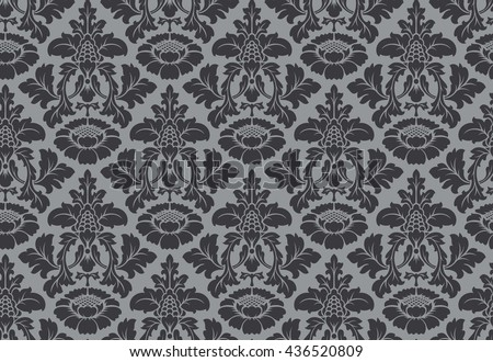 Vector seamless floral damask pattern. Rich ornament, old Damascus style. Royal victorian seamless pattern for wallpapers, textile, wrapping, wedding invitation. Damask woman pattern - stock vector