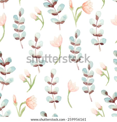 Vector seamless floral decorative watercolor pattern for wedding invitation, save the date cards or vintage abstract background - stock vector