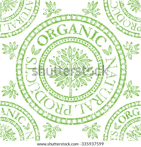 "Vector seamless floral grunge pattern with ""Natural product"" stamp"