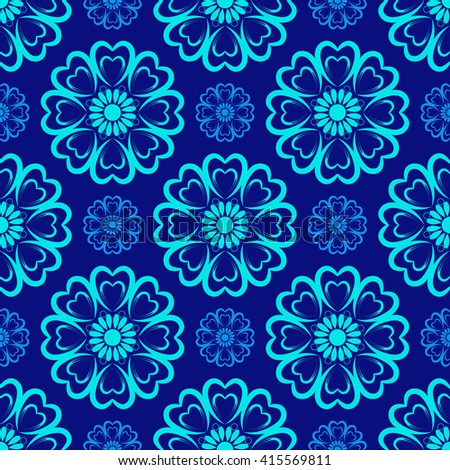 Vector Seamless Floral Mandala Pattern over blue color. Seamless pattern for your designs, invitation card, yoga, meditation, astrology and other wrapped projects. Pattern in swatches panel. - stock vector