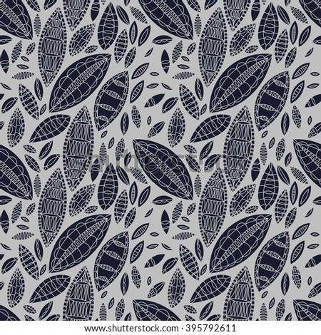 vector seamless floral motif with leaves, background pattern