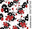 Vector seamless floral pattern. Black and red background - stock vector