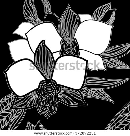 Vector seamless floral pattern, freehand drawing - orchid flowers and leafs - stock vector
