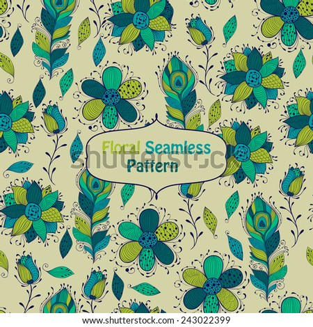 Vector seamless floral  Pattern, fully editable eps 10 file with clipping mask and seamless pattern in swatch menu - stock vector