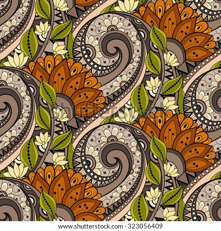 Vector Seamless Floral Pattern. Hand Drawn Floral Texture, Decorative Flowers, Coloring Book - stock vector