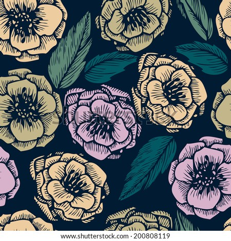 vector seamless floral pattern, hand drawn vector illustration