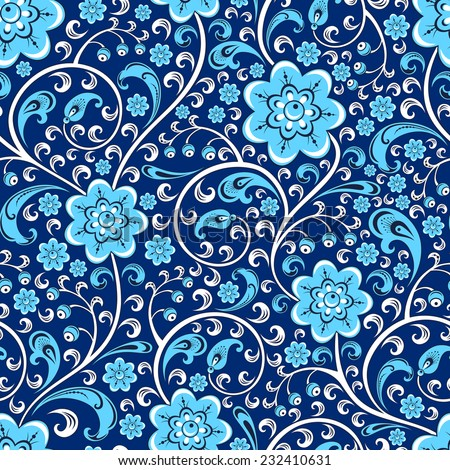 Vector seamless floral pattern in the traditional style in blue tone - stock vector