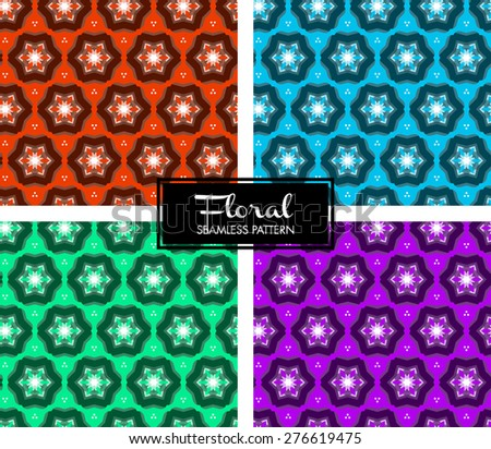 Vector Seamless Floral Pattern Set - stock vector