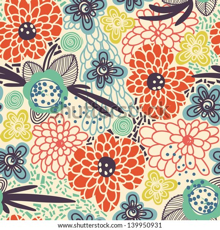 vector seamless floral pattern with abstract flowers - stock vector