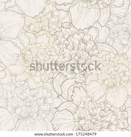 Vector seamless floral pattern with beautiful peony. Delicate background with pastel colors. Seamless pattern - stock vector