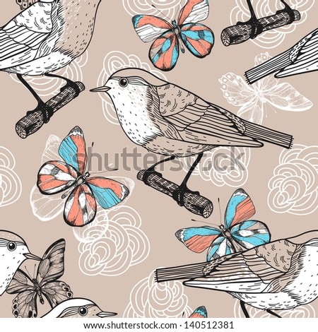 vector seamless floral pattern with birds and butterflies - stock vector