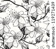 vector seamless floral pattern with blooming apple tree - stock photo